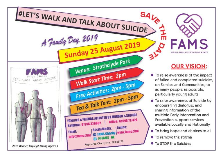 Lets Walk & Talk About Suicide – A Family Day 2019 #LWAS